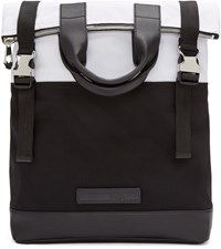 Mcq By Alexander Mcqueen Black And White Fold Tote Backpack