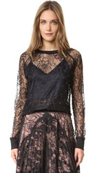 Loyd Ford Lace Sweatshirt Top With Imitation Pearls Black