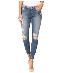 7 For All Mankind The Ankle Skinny W Released Hem Destroy In Windsor Pink Tint Windsor Pink Tint Women's Jeans Blue