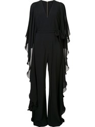 Elie Saab Ruffled V Neck Jumpsuit Black