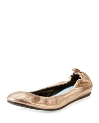 Lanvin Crackled Metallic Leather Ballerina Flat Bronze