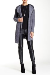 Olivia M Open Front Faux Leather Trimmed Jacket Gray