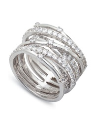 Crislu Platinum And Cubic Zirconia Entwined Ring Silver