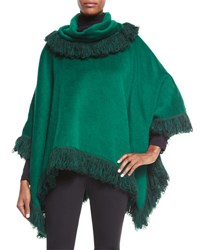 Dolce And Gabbana Cashmere Textured Fringe Poncho Dark Green