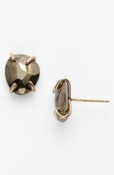 Melissa Joy Manning Stone Stud Earrings Pyrite Yellow Gold