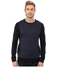 Calvin Klein Merino Acrylic Blocked Menswear Pattern Crew Sweater Lake Como Men's Sweater Black