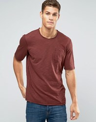 Sisley Raw Neck T Shirt With Pocket In Slub Fabric Burgundy 3G8 Red