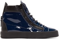 Giuseppe Zanotti Blue Patent Leather London High Top Sneakers