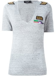 Dsquared2 Military Patch V Neck T Shirt Grey