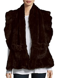 Saks Fifth Avenue Mink Sleeveless Vest Brown