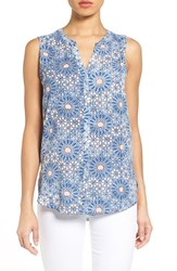 Nydj Women's Print Pleat Back Sleeveless Split Neck Blouse Eastern Mosaic Blue
