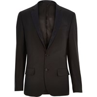 River Island Mens Black Floral Lapel Wool Blend Suit Jacket