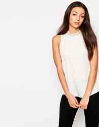 Vero Moda High Neck Sleeveless Top With Embellished Detail Snowwhite