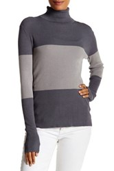 Cullen Colorblock Rib Turtleneck Sweater Gray
