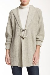 Dreamers By Debut Hooded Toggle Oversized Cardigan Gray