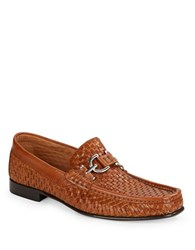 Donald J Pliner Dacio Leather Woven Loafers Saddle