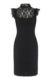 Oasis Lace Ruffle Neck Dress Black