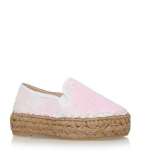 Kg By Kurt Geiger Milo Sequin Flatform Espadrilles Female White
