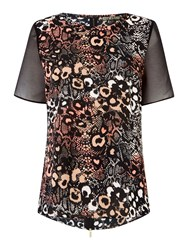 Biba Leopard Printed Zip Back Blouse Multi Coloured