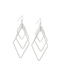 Lydell Nyc Diamond Shape Triple Drop Earrings Silvertone