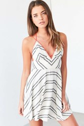 Ecote Clementine Plunging Stitched Mini Dress Black And White