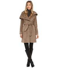 Cole Haan Belted Coat With Oversized Hood Maple Sugar Women's Coat Taupe