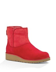 Ugg Kristin Sheepskin Wedge Ankle Boots Red
