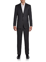 Saks Fifth Avenue Black Slim Fit Wool And Silk Two Button Suit Charcoal