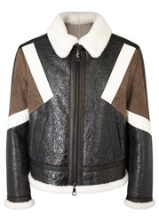 Neil Barrett Brown Shearling Trimmed Leather Jacket