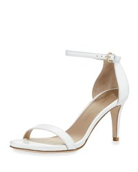 Stuart Weitzman Nunaked Leather Mid Heel Sandal White Women's