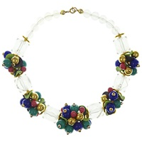 Eclectica Vintage 1980S Chunky Statement Bead Cluster Necklace Multi