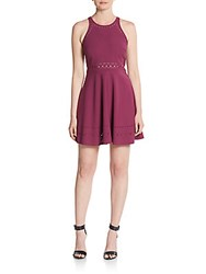 Elizabeth And James Mirna Laser Cut Fit And Flare Mini Dress Berry