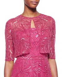 Monique Lhuillier Sequin Embroidered Chiffon Bolero Women's