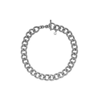 Michael Kors Pave Silver Tone Chain Link Necklace