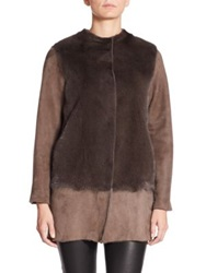 Piazza Sempione Shearling And Mink Coat Brown