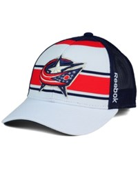 Reebok Columbus Blue Jackets Ice Basket Adjustable Cap White