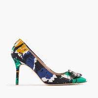 J.Crew Collection Elsie Jeweled Pumps In Abstract Print Green Multi