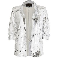 River Island Womens White Sequin Blazer
