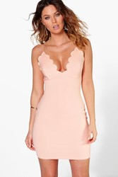 Boohoo Plunge Neck Scallop Bodycon Dress Apricot