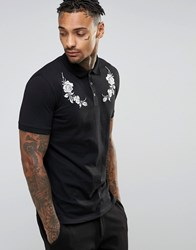 Asos Polo Shirt In Black With White Rose Yoke Embroidery Black