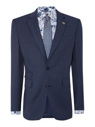 New And Lingwood Dartmouth Window Pane Suit Jacket Blue