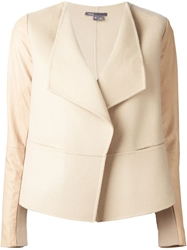 Vince Contrast Sleeve Blazer Nude And Neutrals