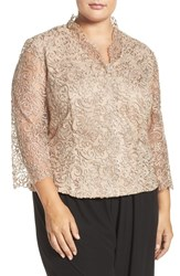 Alex Evenings Plus Size Women's Embroidered Illusion Sleeve Blouse