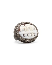 Three Wise Monkeys See No Evil Diamond Trim Cameo Ring 0.7Ct Amedeo White