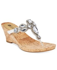 White Mountain Abra Embellished Wedge Sandals Women's Shoes