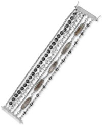 Lucky Brand Silver Tone Stone And Elephant Multi Chain Bracelet