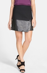 Halogen Leather Mix Faux Wrap Skirt Regular And Petite Black