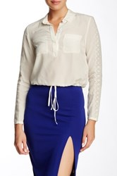 Rebecca Taylor Long Sleeve Silk And Eyelet Blouse White