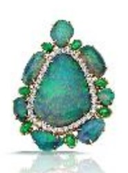 Pamela Huizenga Black Opal Pendant With Emeralds And Diamonds Blue