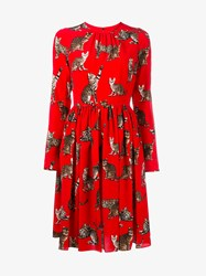 Dolce And Gabbana Cat Print Silk Dress Red Multi Coloured Red Brown White